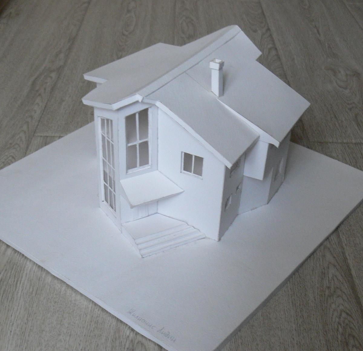 Макет дома из картона фото