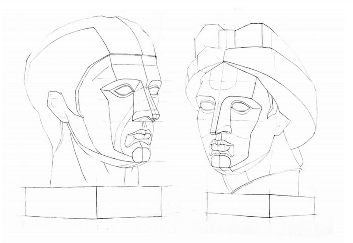 Гипсовая голова поэтапно рисуем