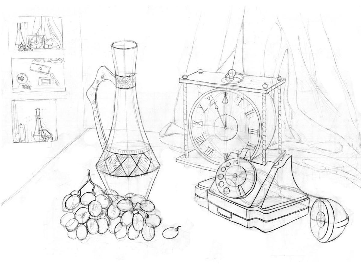 Рисунок натюрморта бытовых предметов 2