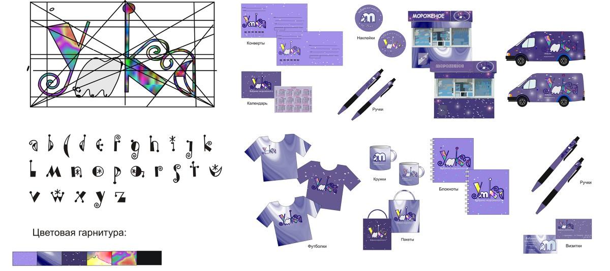 Институт архитектуры и дизайна Портфолио КХУ 2курс 4 семестр разработка логотипа и фирменного стиля для фабрики мороженого