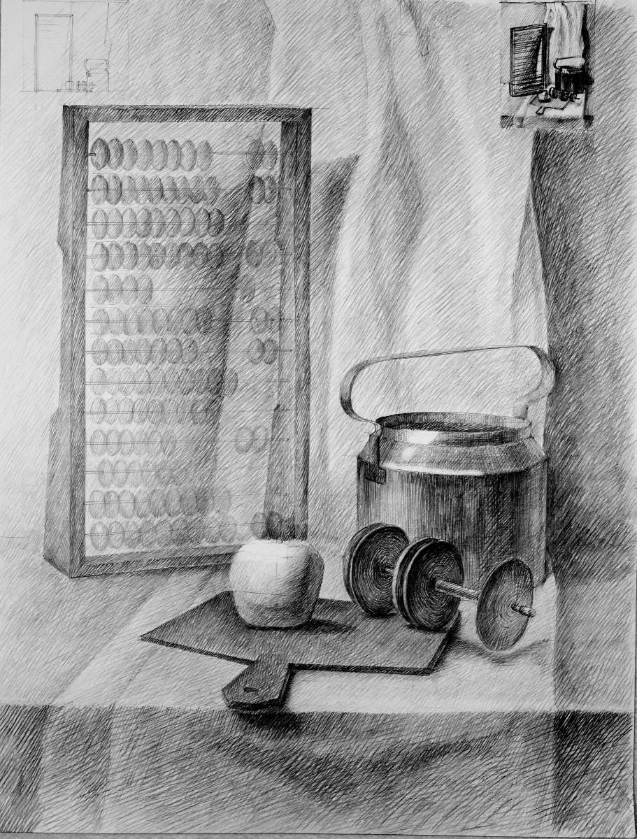 Рисунок натюрморта бытовых предметов 5